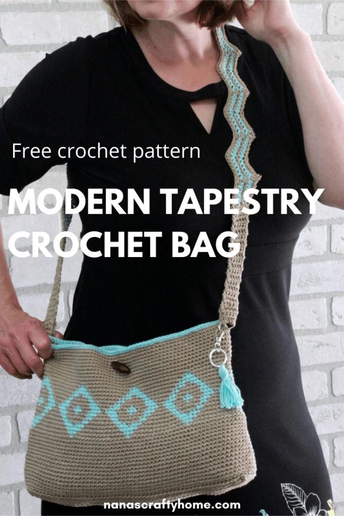 modern tapestry crochet bag