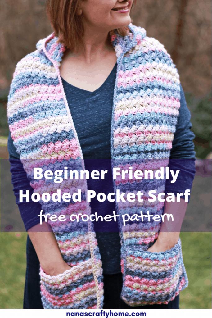 crochet pocket scarf with hood