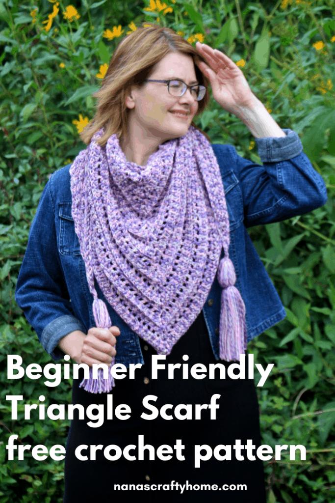 beginner friendly triangle crochet scarf