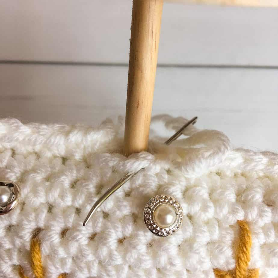 Crochet Christmas Tree process insert dowel
