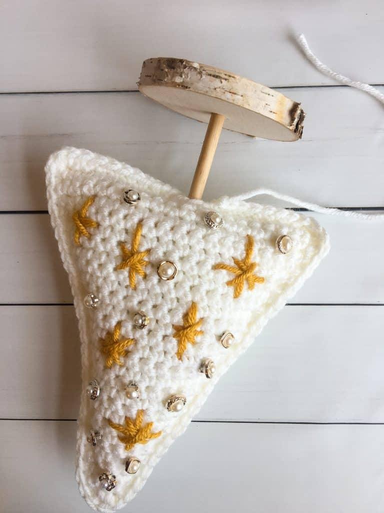 Crochet Christmas Tree process insert dowel part 1
