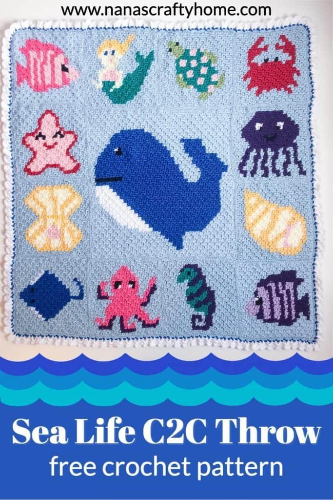 Sea Life C2C Blanket free crochet pattern