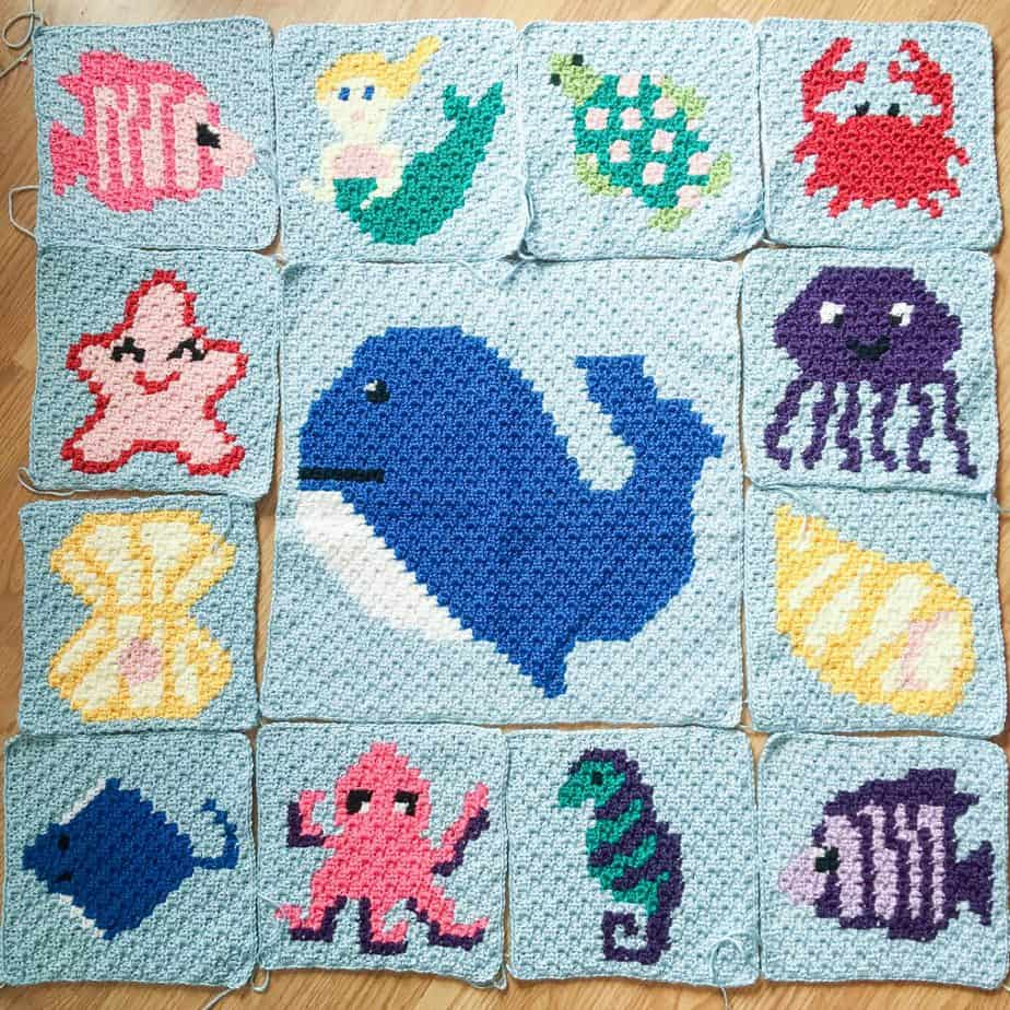 Sea Life Crochet Blanket