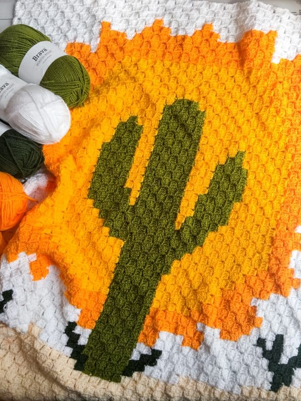 Crochet Cactus Blanket free pattern