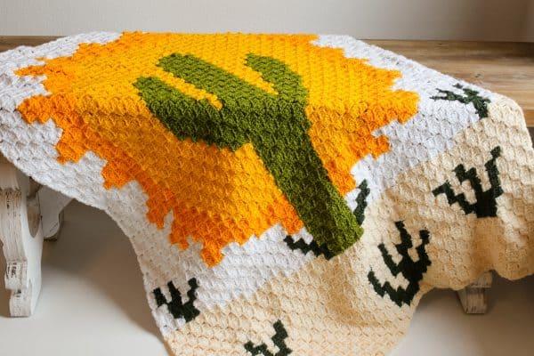 desert cactus c2c blanket