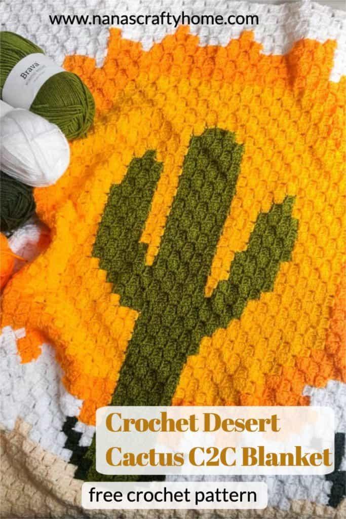 Desert Cactus C2C Blanket free crochet pattern