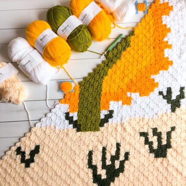 free crochet cactus desert blanket