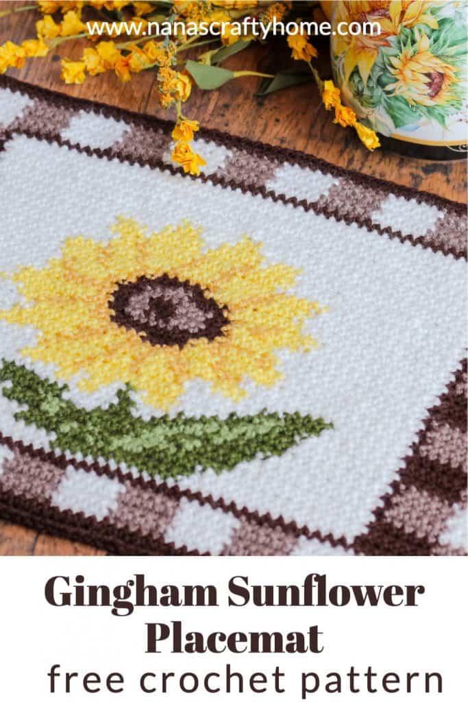 gingham sunflower crochet placemat