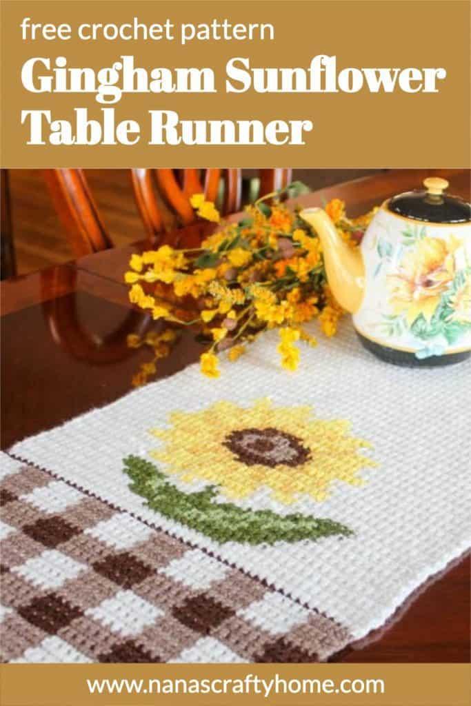 Gingham Sunflower Table Runner free crochet pattern