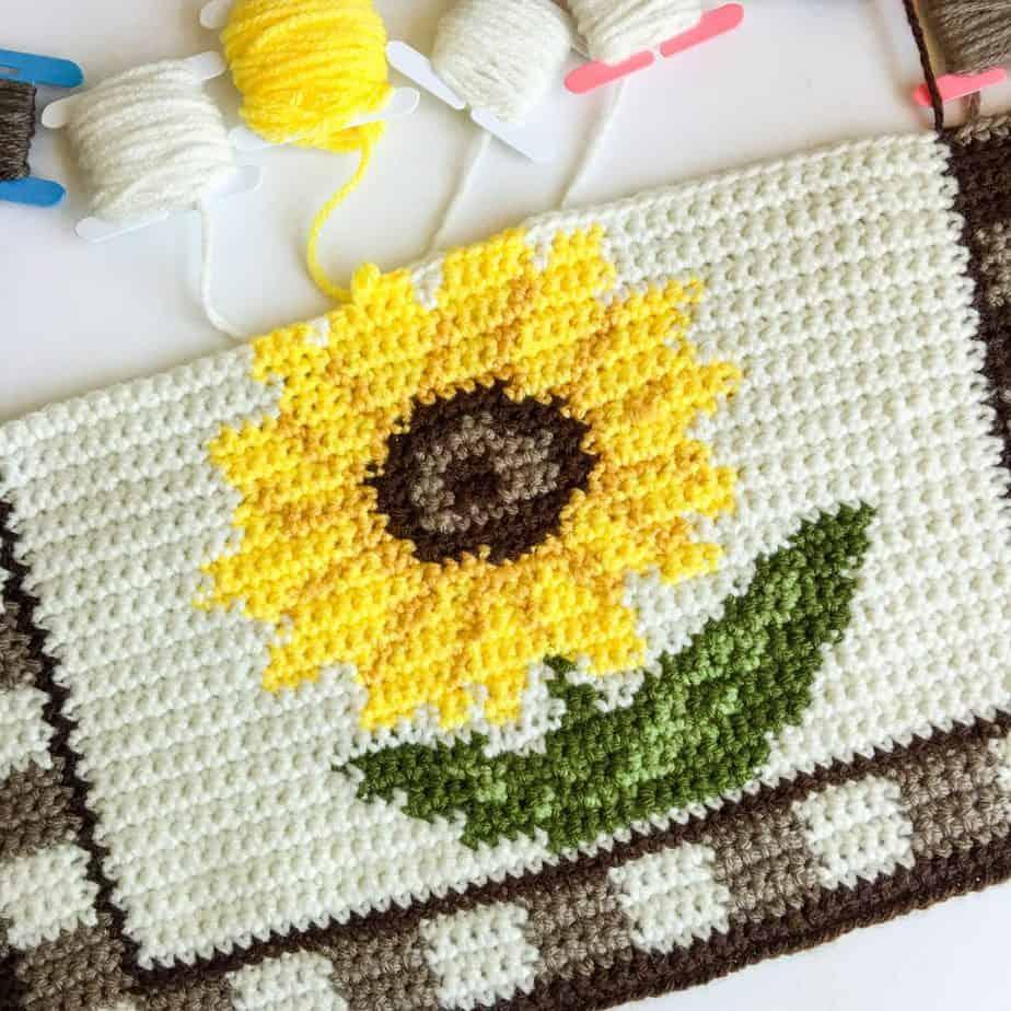 Sunflower Crochet Placemat Pattern