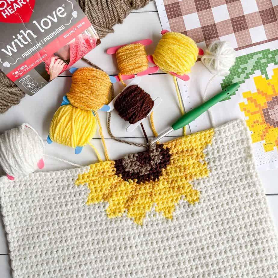 Sunflower Crochet Pattern table runner