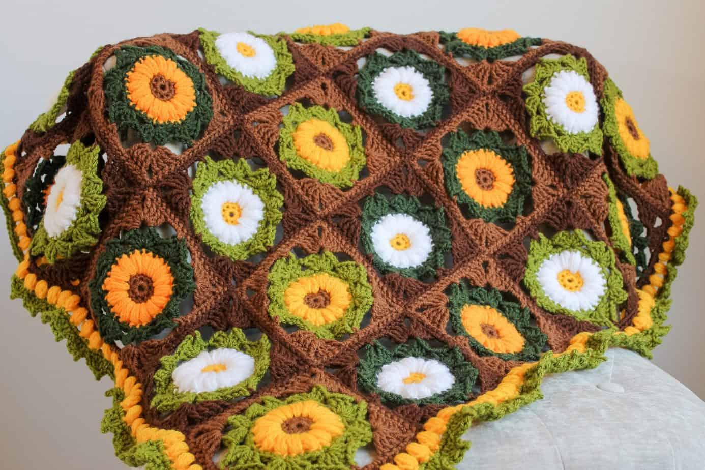 Granny Flower Square Blanket free pattern