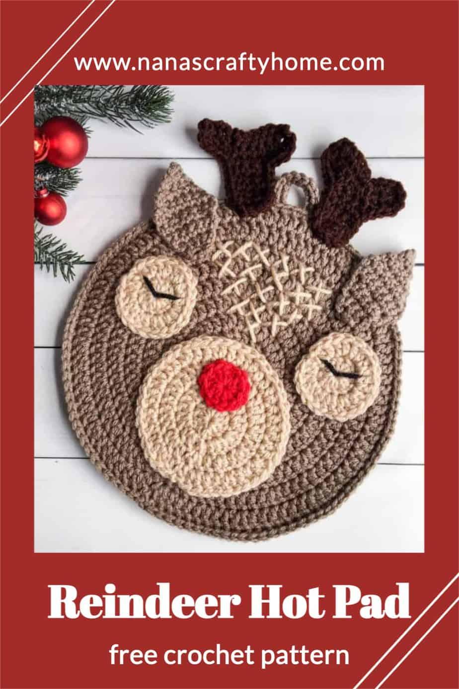 Reindeer Christmas Crochet Hot Pad free crochet pattern