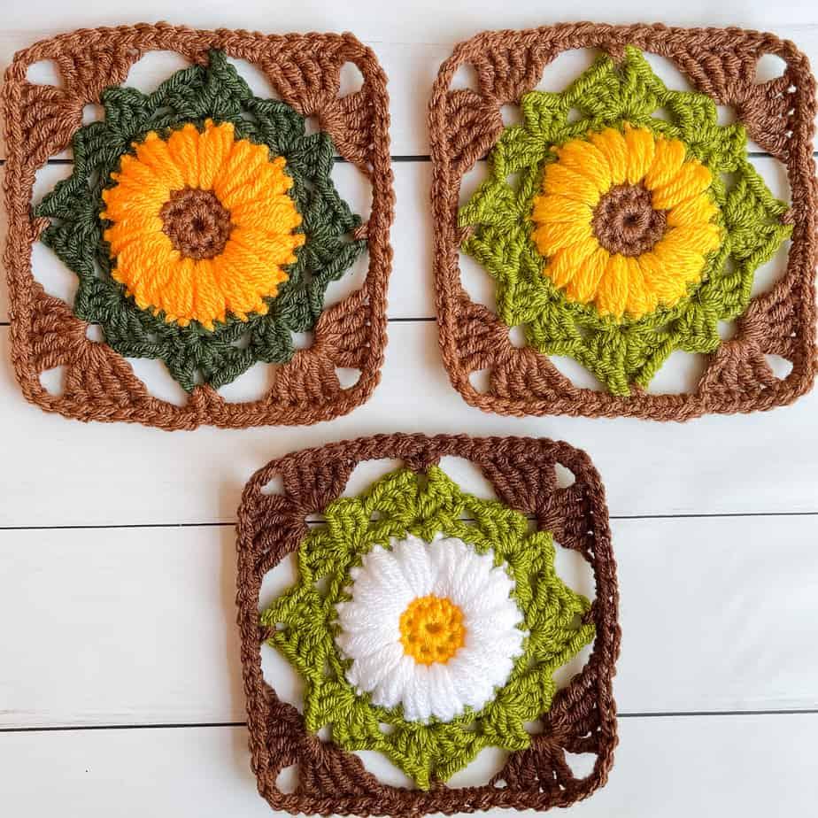 granny flower square free pattern