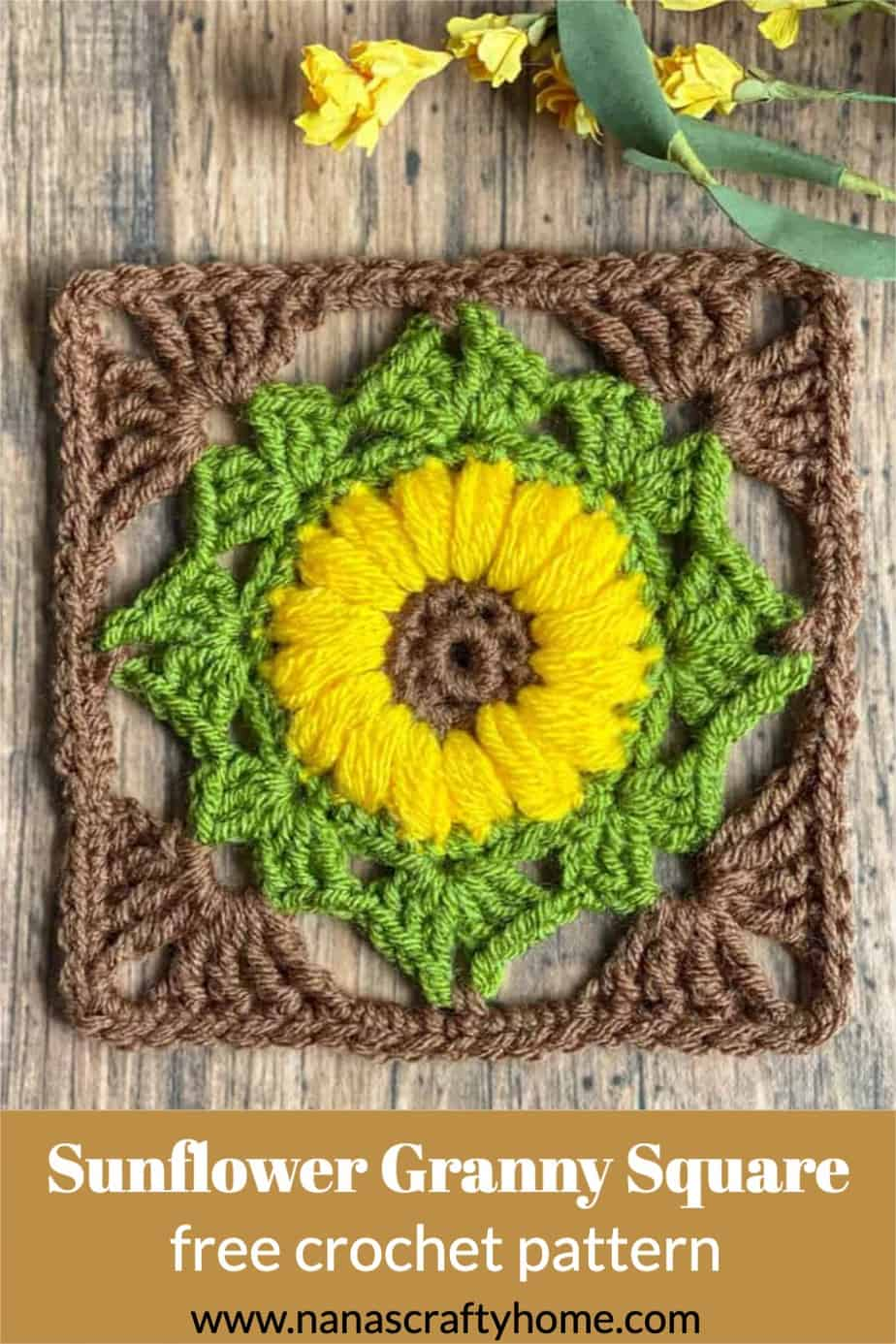 Sunflower Granny square free crochet pattern