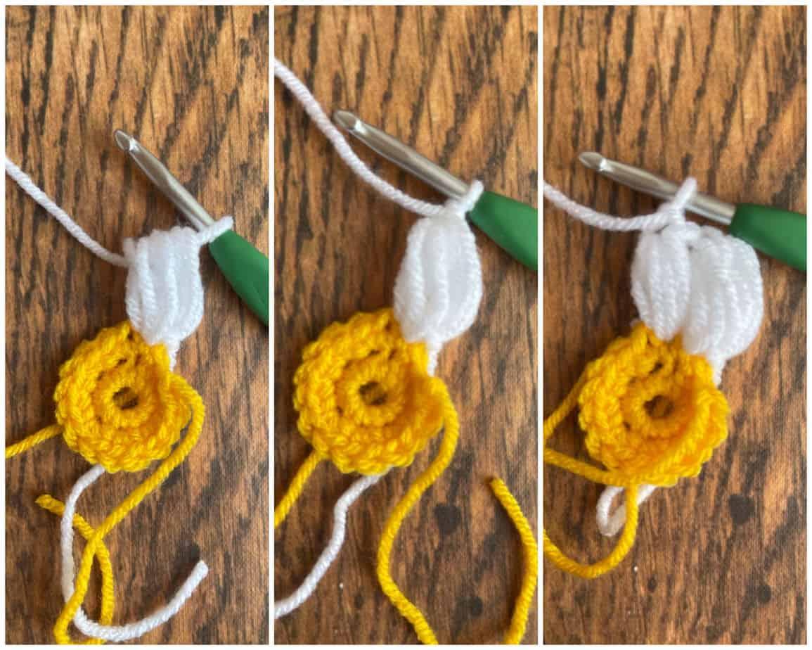 sunflower crochet motif process