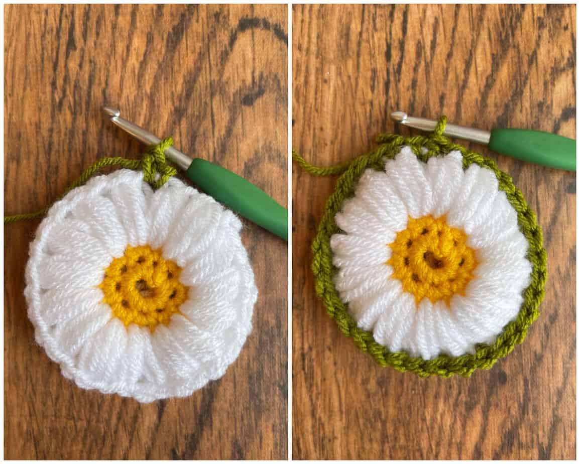Sunflower crochet motif process 4