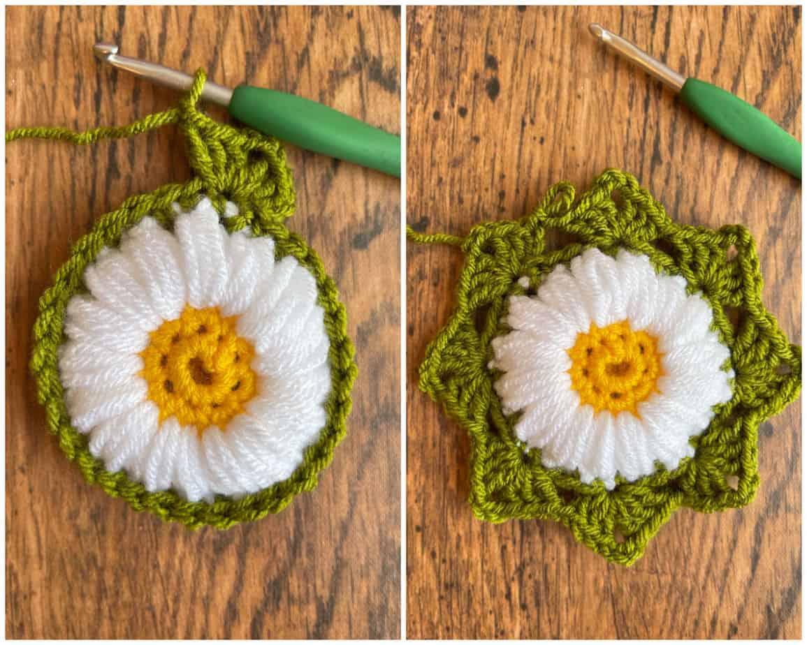 Sunflower crochet motif process 5