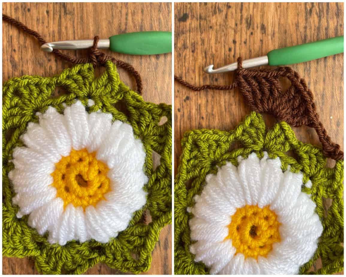 Sunflower crochet motif process 6