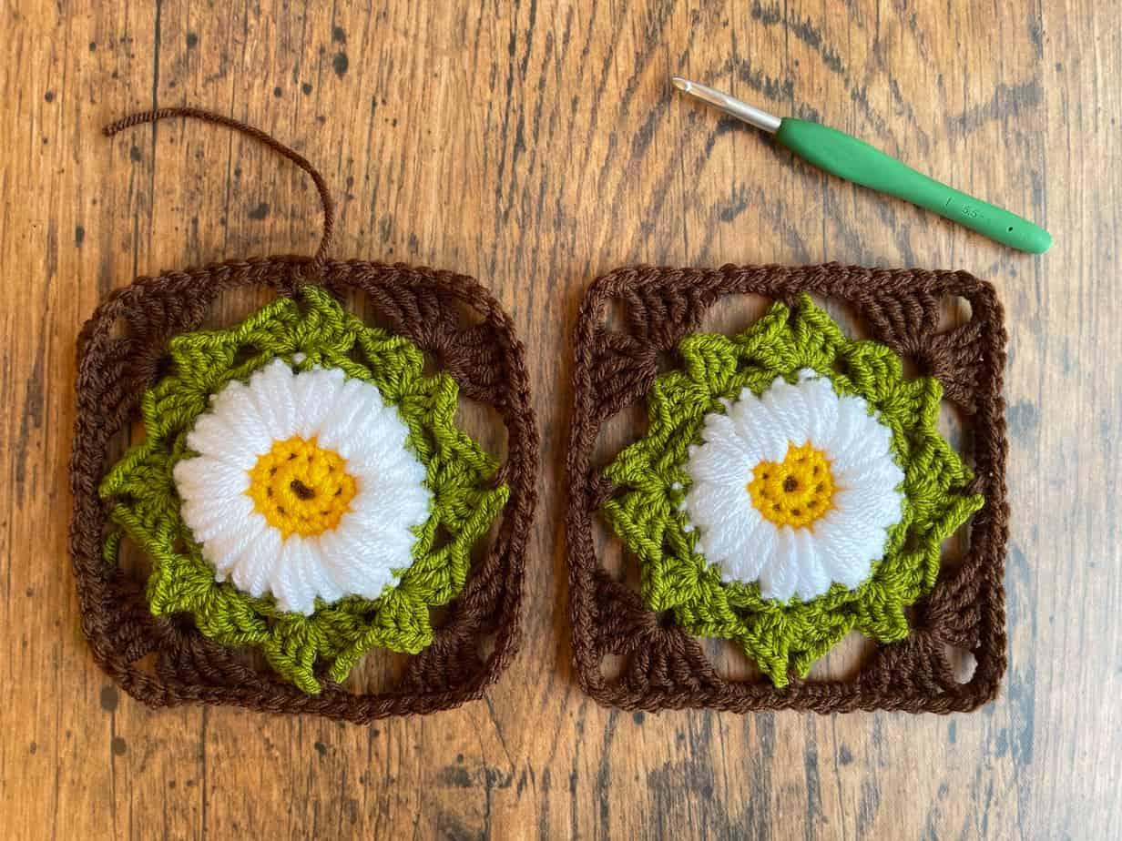 Sunflower crochet motif process 8
