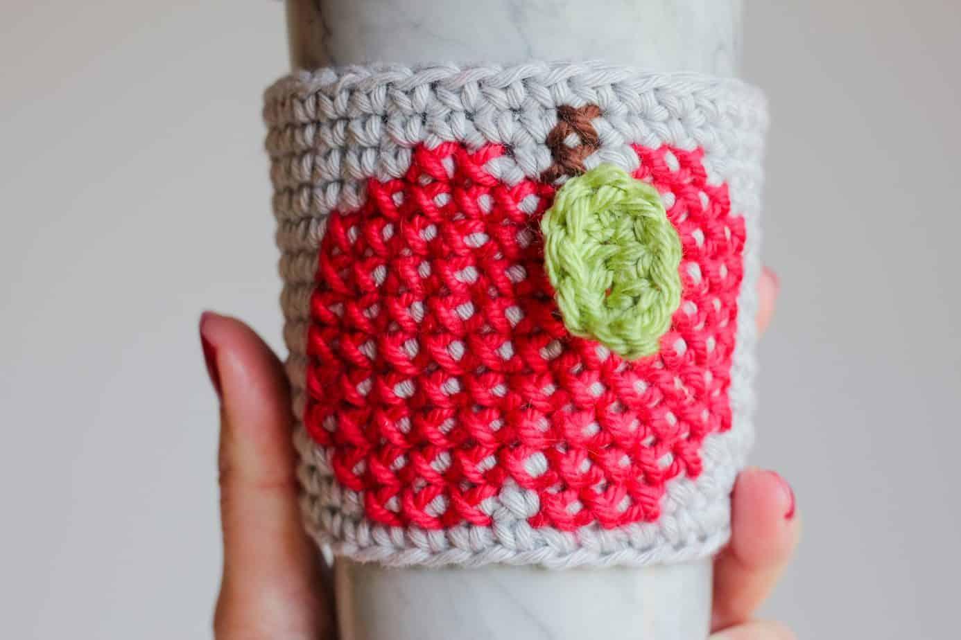 Apple cup cozy pattern
