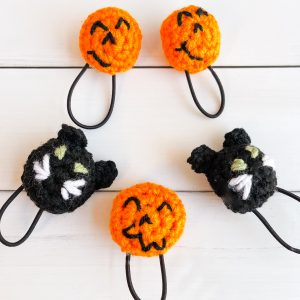black cat and pumpkin ponytail holder patterns